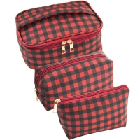 3pcs Red Black Plaid Polyester Cosmetic Bag For Travel Manufactures
