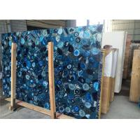 2cm Thickness Natural Blue Agate Slab For Mall Decoration CE Certificated Manufactures