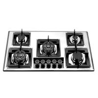 Stainless Steel Five Burner Gas Hob With Glass Decoration Quare Pan Support Manufactures