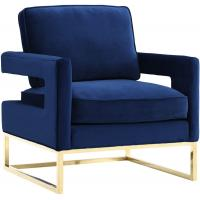 China new classic deep blue velvet fabric and stainless steel frame single lounge chair for wedding party event on sale
