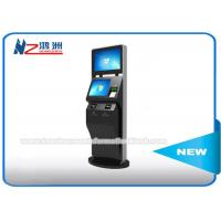 Black Color LCD Touch Screen Coin Counting Kiosk Stand With Keyboard Dual Screen Manufactures