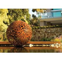 Delicate Corten Steel Carved Hollow Ball Sculpture For Garden Decoration Manufactures