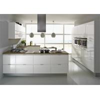 Modern High Gloss Lacquer MDF Kitchen Cabinets With White Quartz Stone Manufactures