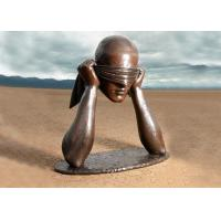 Contemporary Art Work Bronze Statue Blindfolded Man Head Shape Anti Corrosion Manufactures