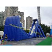 Quality moon shape giant inflatable blue slide for sale