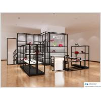 China Lady shoe store black metal display racks with white wood shelves also cashier counter on sale