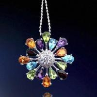 Rhodium-plated Silver Pendant, Decorated with Zirconia Stones Manufactures