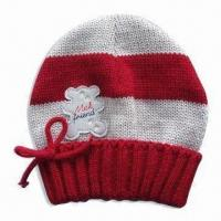 Girl's Knitted Hat with PVC Patch on Front, Made of Acrylic, Various Designs are Available Manufactures