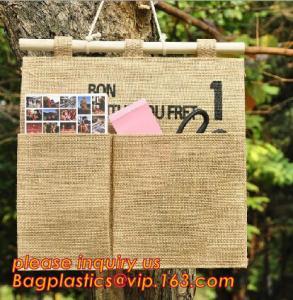 manufacturer Natural Jute canvas fabric wall hanging storage organizer carriage bag,Wall hanging pocket storage organize Manufactures