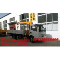 Quality Dongfeng duolika 4*2 LHD 4 ton  military xcmg small truck crane for sale, best price 4tons 120hp truck mounted crane for sale