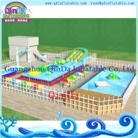 China Metal Frame Amusement Park Inflatable Inground Pool With Pool and Slide on sale
