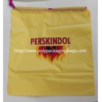 Yellow Waterproof Nylon Mesh Promotional Drawstring Bags / Personalized Drawstring Bags Manufactures