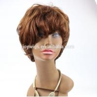China Unprocessed top grade short hair cut medium brown color human hair short machine made wig on sale