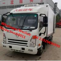 Factory wholesale good price Dayun brand 4*2 LHD 4tons refrigerator van truck for sale, Dayun reefer van truck Manufactures