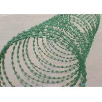 Green 22 Mm Length Flat Razor Wire / Concertina Razor Coil With Galvanized Surface Manufactures