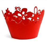 Pantone Color Red Floral Laser Cut Decorative Cupcake Wrappers for wedding centerpieces Manufactures