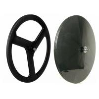 Rear Tri Spoke Carbon Track Disc Wheel 700C 20MM Width 52MM Depth 3k / 12k Manufactures