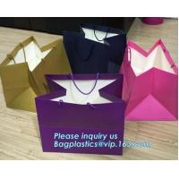 China Laminated Customized Luxury Retail Shopping Packaging Logo Gold foil Paper Bags For Clothes / Clothing with Ribbon Bow on sale