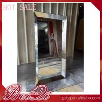 Stainless steel mirror salon furniture hairdresser wall mounted white modern salon station Manufactures