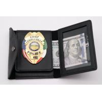Customized Leather Black Plain surface Chief police badge wallet Manufactures