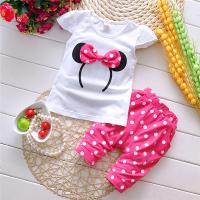 China good quality elastic cotton t-shirt with long pant for baby girls on sale