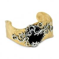 China Engraved Yellow Copper Alloy Jewelry Metal Cuff Bracelets for Anniversary on sale