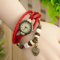 Girls heart shape pendant Gift Watch Alloy Water-Resistance Leather Watch Manufactures
