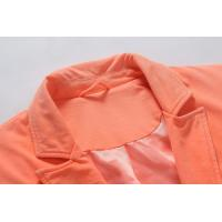 Quality Ladies Jersey Jacket Garment Dyeing Service Long Sleeve Suit in Orange for sale
