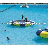 Quality Floating Swimming Inflatable Water Trampoline With Slide , Inflatable Combo Bouncers for sale