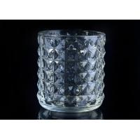 Soda Lime glass cylinder candle holders for decor , Exquisite diamond design Manufactures
