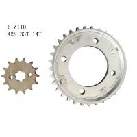 BIZ110 Motorcycle Chain And Sprocket Kit 33t-14t Metal Material Longer Usage Time Manufactures