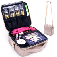 Women PU Makeup Train Case With Adjustable Dividers Manufactures