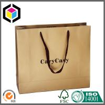 Gold Metallic Color Printed Paper Bag; Black Color Logo Shopping Bag with Eyelet Manufactures