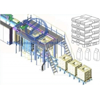 PLC Control Automatic Palletiser Machine For Bags Boxes High Stacking Capacity Manufactures