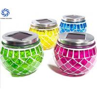 Rechargeable Color Changing Glass Jar Solar Lights / Solar Powered Mosaic Glass Ball Manufactures