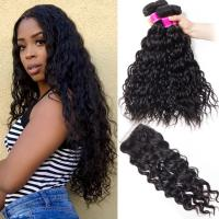 China 10A Grade 24 Inch Virgin Human Hair Extensions Natural Wave Black Color on sale