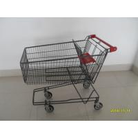 135L Metal Wire UK Shopping Cart With 4x5inch swivel flat TPE black casters Manufactures