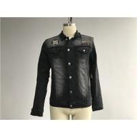 Black Washed Badge Mens Denim Jacket And Jeans Button Through Trucker Jacket TW76375 Manufactures