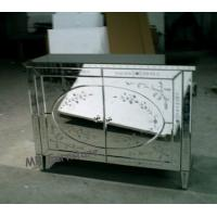 Popular Venetian Mirrored Sideboard , Etching Flower Wood And Mirrored Sideboard Manufactures