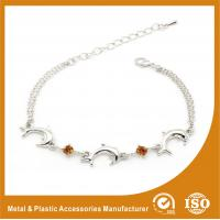 Quality Crystal Silver Personalized Metal Chain Bracelet , Engraved Metal Bracelets for sale