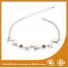Crystal Silver Personalized Metal Chain Bracelet , Engraved Metal Bracelets Manufactures