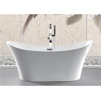 Back To Wall White Slipper Soaking Tub , 5 Ft Freestanding Soaking Tub Indoors Manufactures