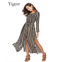 Long Sleeve Buttons Down Striped Waist Band Long Shirt Dress Manufactures