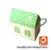 House Shaped Candy Custom Printed Packaging Boxes Green Fancy With Handles Manufactures