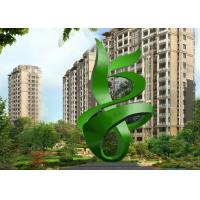 Green Painted Contemporary Outdoor Metal Sculpture Abstract For Building Manufactures