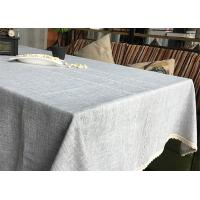 Customized Patchwork Decorative Table Cloths Gray / Ivory Cotton Linen Tablecloths Manufactures