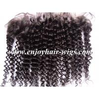 China Peruvian virgin remy hair lace frontal 13''x4'' ,natural color curly hair 10''-24''length on sale