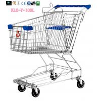 Food Environmental Stainless Steel Metal Wire Shopping Trolley Carts 100L Manufactures