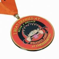 0.8-5mm Bronze Plating Custom Sports Medals Red Enamel Zinc Alloy With Engraved Logo Lanyard Manufactures