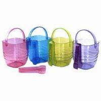 Ice Buckets, Made of Plastic, Customized Logo Printings are Accepted Manufactures